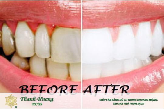 Nước súc miệng trắng răng trước và sau khi dùng